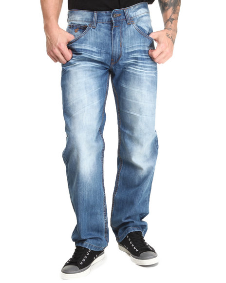 Rocawear - Men Light Wash Flame Stitch Core Classic Fit Jeans