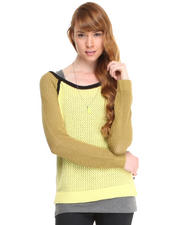 Sweaters - BOXY FIT MESH SWEATER W/ TANK