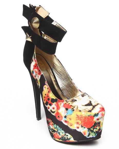 Fashion Lab - Women Black Padma Floral Platform W/ Ankle Straps
