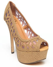 Fashion Lab - Jenna Laser Cut Peep Toe Platform Pump