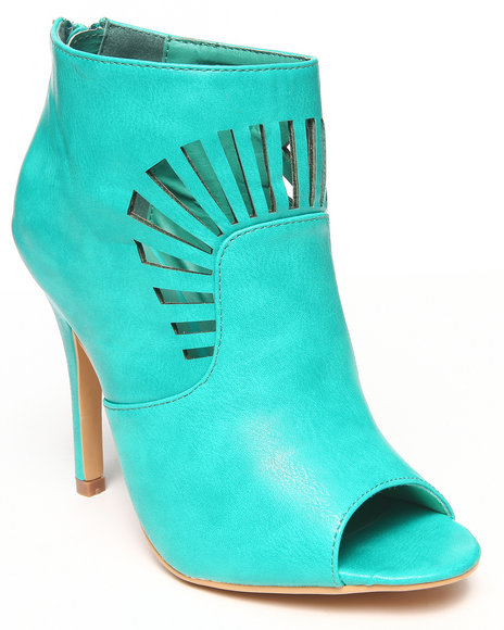 Fashion Lab - Women Teal Chelsea Cutout Peep Toe Ankle Bootie