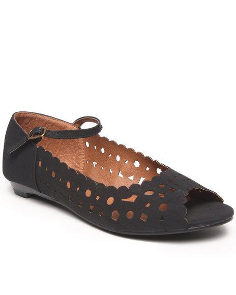 Fashion Lab - Women Black Naomi Laser Cut Peep Toe Flats W/ Ankle Strap
