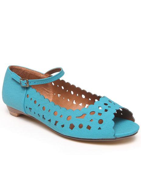 Fashion Lab - Women Blue Naomi Laser Cut Peep Toe Flats W/ Ankle Strap