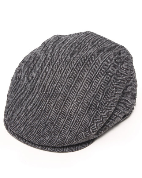 Drj Accessories Shoppe - Men Black Herringbone About That Paper Boy Hat W/Ear Covers