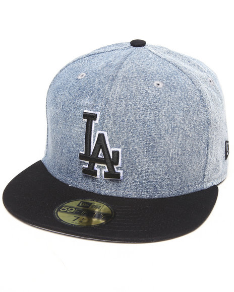 New Era - Men Grey Los Angeles Dodgers Denim Grunger 5950 Fitted Hat