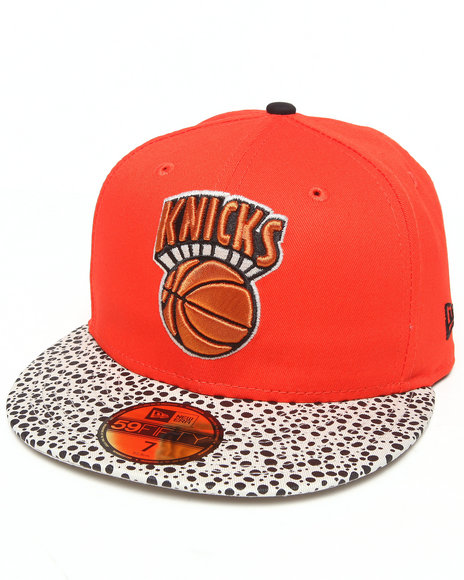 New Era - Men Orange New York Knicks Pebble Hook 5950 Fitted Hat
