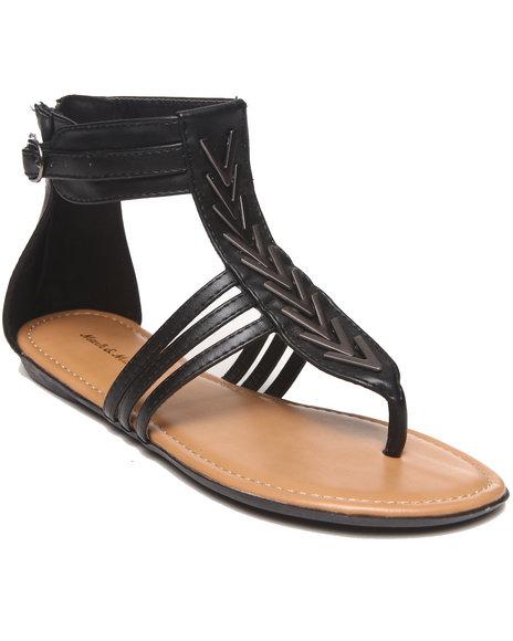 Fashion Lab - Women Black Brandy Multi Strap Thong Sandal W/ Metal Detail