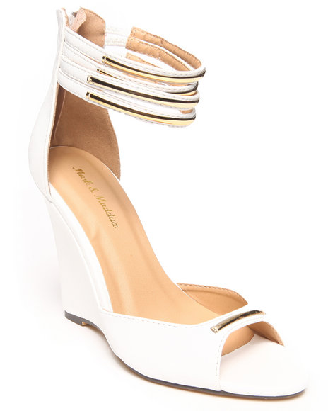 Fashion Lab - Women White Pamela Peep Toe Wedge W/ Gold Ankle Detail