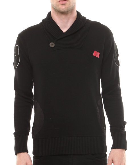 Well Established Black Established Rib Pullover Shawl Neck Sweatshirt