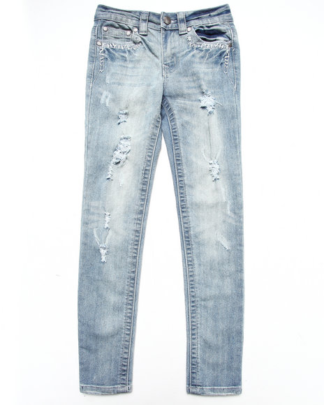 La Galleria Girls Medium Wash Whip Stitch Distressed Jeans (7-16)