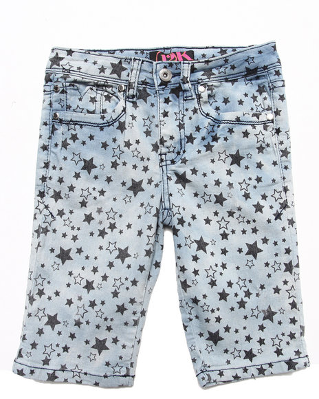 La Galleria Girls Light Wash Star Print Bermuda Shorts (7-16)
