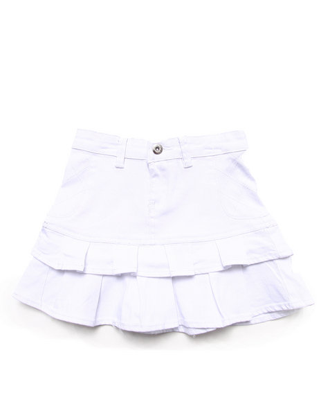 La Galleria Girls White Twill Tiered Skirt (7-16)