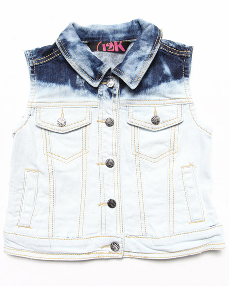 La Galleria Girls Light Wash Beach Dye Denim Vest (4-6X)
