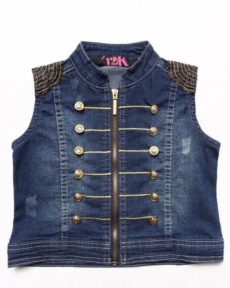 La Galleria Girls Dark Wash Military Vest (4-6X)