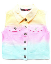 Sizes 7-16 - Big Kids - RAINBOW OMBRE DENIM VEST (7-16)