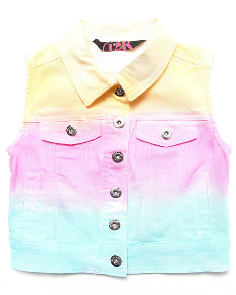 La Galleria Girls Multi Rainbow Ombre Denim Vest (7-16)