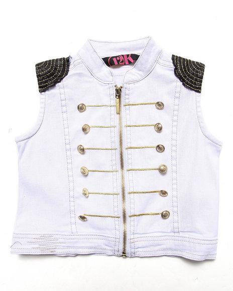 La Galleria - Girls White Military Vest (4-6X)