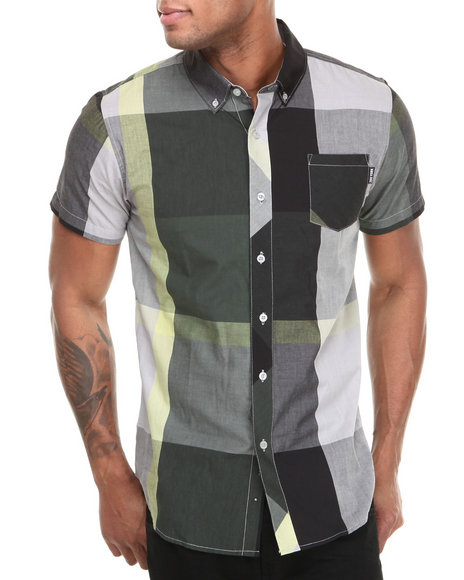 Zoo York - Men Black,Green,Grey Junior Plaid S/S Button Down Shirt