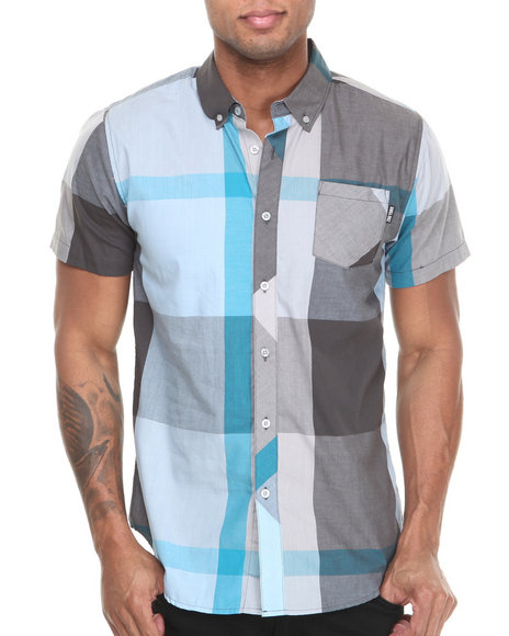 Zoo York - Men Grey Junior Plaid S/S Button Down Shirt