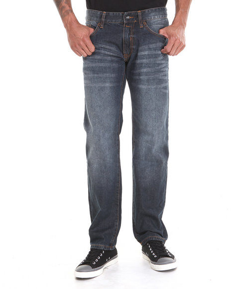 Rocawear - Men Dark Wash Flame Stitch Core Straight Fit Jeans