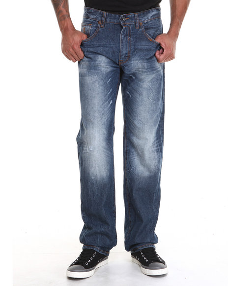 Rocawear - Men Medium Wash Volume Classic Fit Denim Jeans