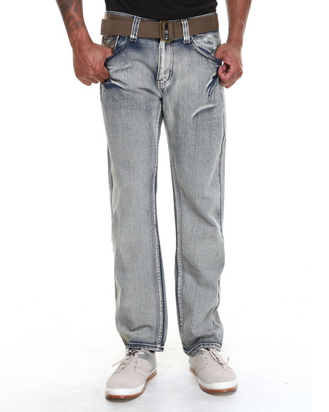 Buyers Picks - Men Medium Wash Ariz Bleach Denim Jeans With Belt - $15.99