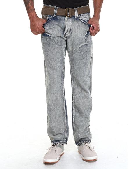 Buyers Picks - Men Medium Wash Ariz Bleach Denim Jeans With Belt