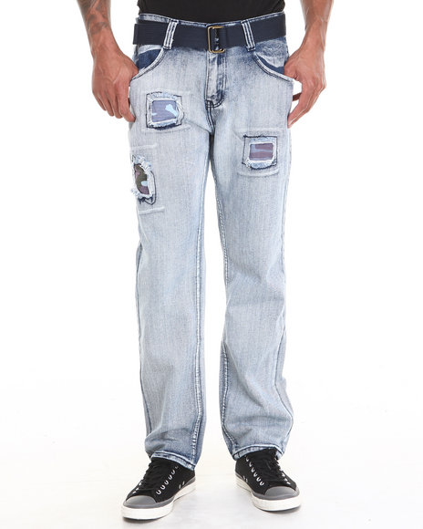 Buyers Picks - Men Light Wash Bleach Wash Vint Denim Jeans With Belt