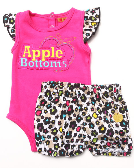 Apple Bottoms - Girls Pink 2 Pc Set - Bodysuit & Bloomers (Newborn)
