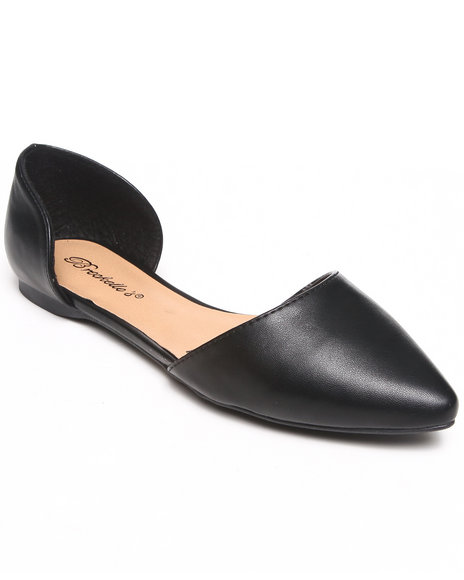 Fashion Lab - Women Black Ashley Faux Leather Pointy Toe Open Foot Flat - $19.99