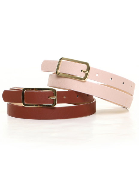 Rampage Brown,Light Pink Gold Trim Belt Duo
