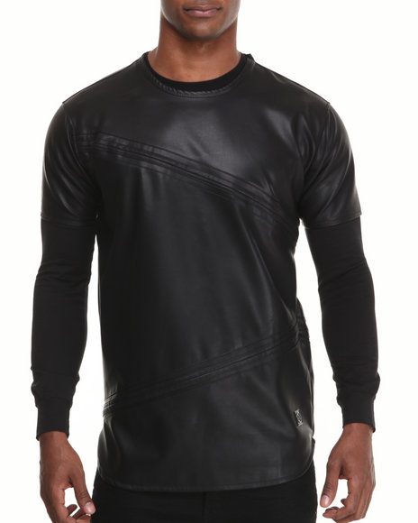 Hudson NYC Black Vegan Leather Layered Tee