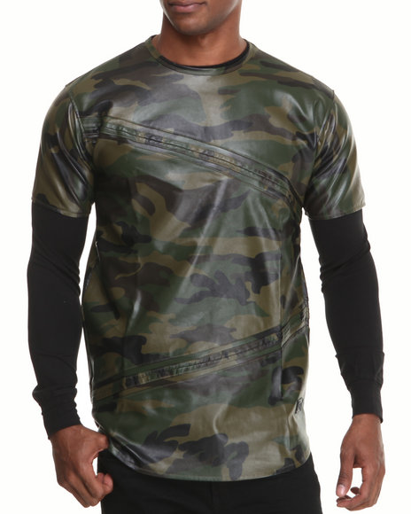 Hudson NYC Camo Vegan Leather Layered Tee