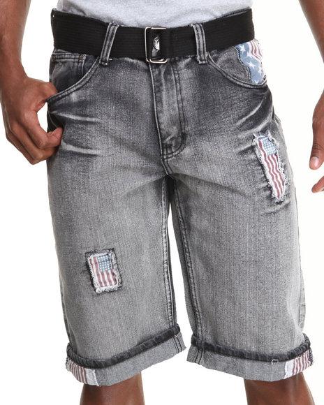Basic Essentials - Men Black Americana Denim Shorts