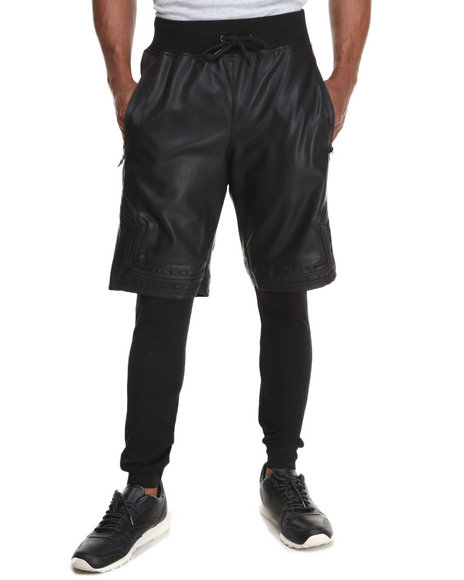 Hudson NYC Black Vegan Leather Layered Shorts