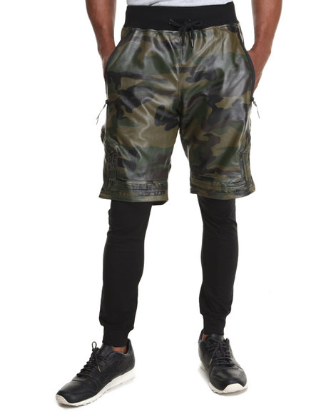 Hudson NYC Camo Vegan Leather Layered Shorts