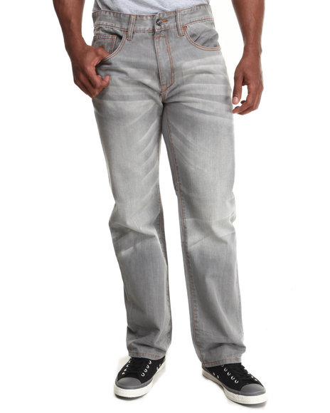 Rocawear - Men Grey Flame Stitch Core Classic Fit Jeans