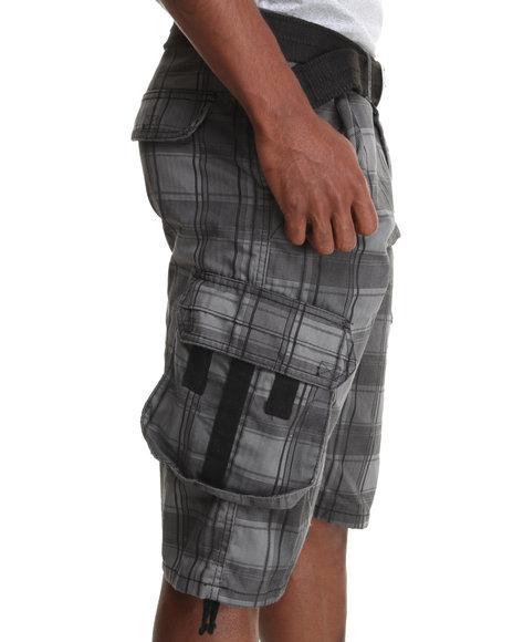 Buyers Picks - Men Grey Herringbone Belted Cargo Shorts