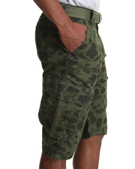 Buyers Picks - Men Camo,Olive Olive Camo Cargo Belted Shorts