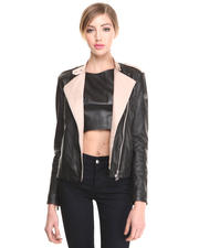 Leather & Fur - TWO TONE LEATHER MOTORCYCLE  JACKET