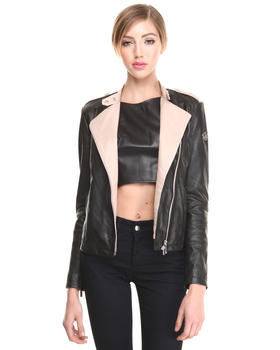 Jackets & Coats - TWO TONE LEATHER MOTORCYCLE  JACKET