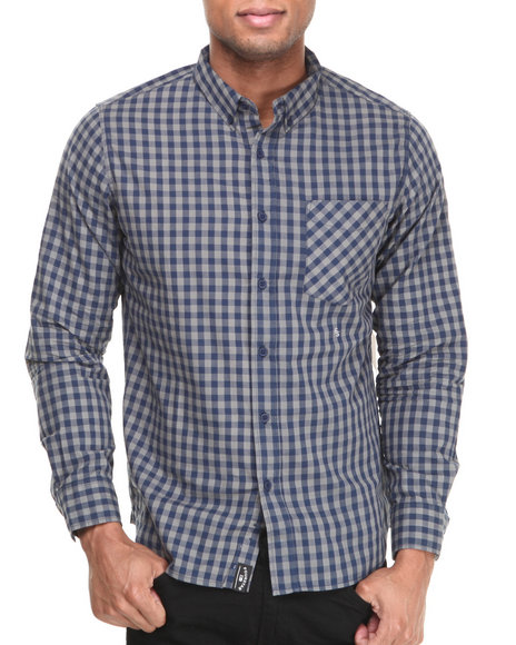 Fourstar Brown,Grey,Navy Mariano Gingham L/S Button-Down