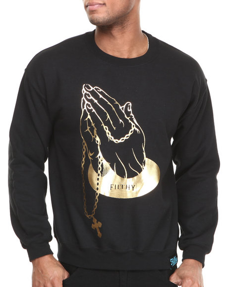 Filthy Dripped - Men Black Golden Hands Crew Sweatshirt