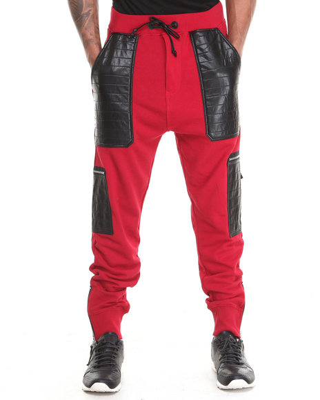 Winchester Red Black Hawk P U Trimmed French Terry Straight Rise Jogger
