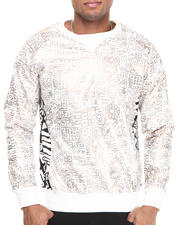 Men - Printed PU Crew Sweatshirt