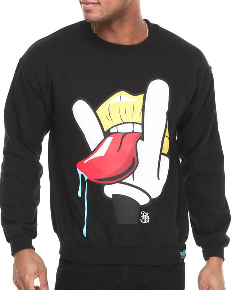 Filthy Dripped - Men Black Classic Rocker Crew Sweatshirt