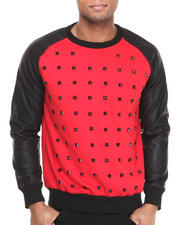 Men - Studded PU Crew Sweatshirt