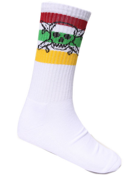 Fourstar Men Pirate Stripe 3-Pack Crew Socks White