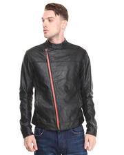 Armani Jeans - ASYMMETRICAL ECO-LEATHER JACKET