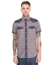 Button-downs - S/S PLAID BUTTON DOWN W/ CHAMBRAY DETAILS AND BACK LOGO